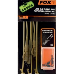 EDGES™ Trans Khaki Tubing Leadclip Rigs + kwik Change Kit